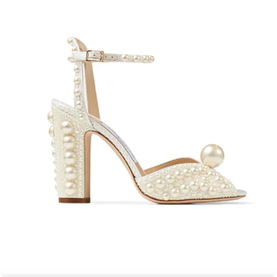 Jimmy Choo Sacaria 100 White Satin Sandals with All-Over Pearl Embellishments