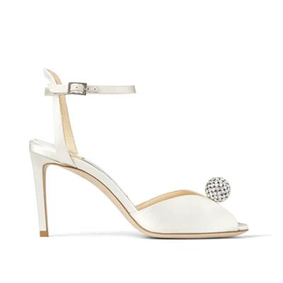 Jimmy Choo Sacora 85 Ivory Satin Sandals with Crystal-Embellished Sphere