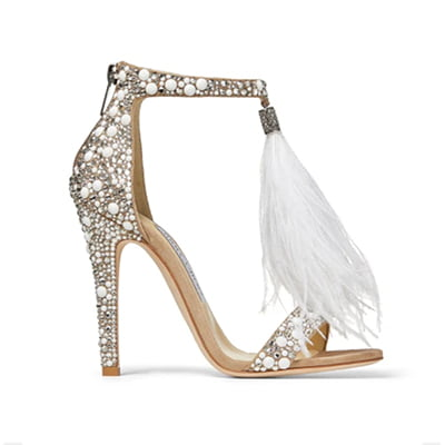 Jimmy Choo Viola 110 White Suede Crystal-Embellished Sandals with Ostrich Feather Tassel