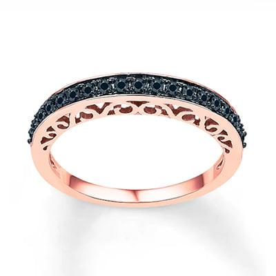 Kay Jewelers Round-Cut 10-Karat Rose Gold Black Diamond Ring