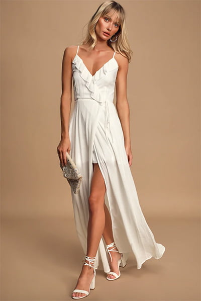Lulus Blissful Breeze White Faux Wrap Maxi Dress