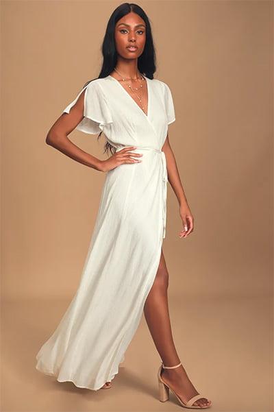 Lulus Heart of Marigold White Wrap Maxi Dress