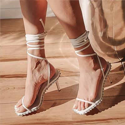 Lulus Marqo White Rhinestone Lace-Up High Heel Sandals