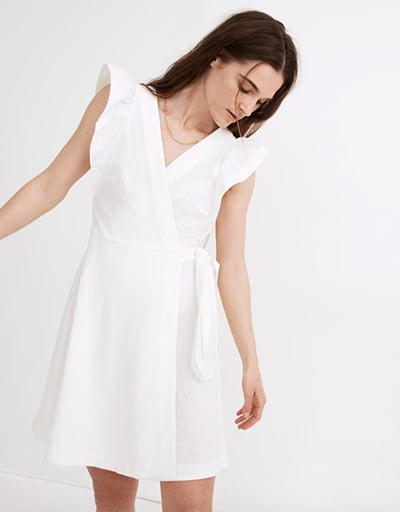 Madewell Ruffle Sleeve Wrap Mini Dress