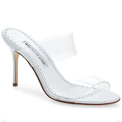 Manolo Blahnik Scolto Clear Double Strap Sandals