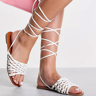 Missguided Crochet Flat Sandals with Lace-Up Detail