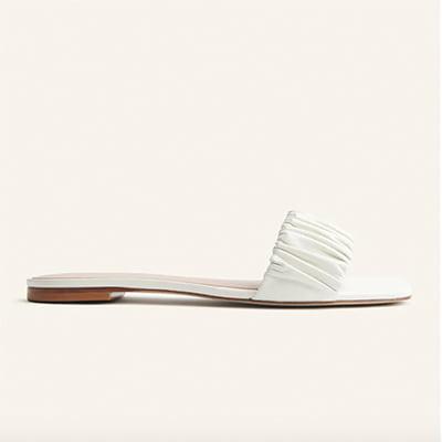 Reformation Marcella Ruched Flat Slide Sandal