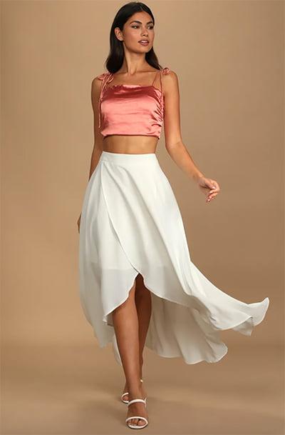 Simply Me White High Waisted High-Low Midi Skirt