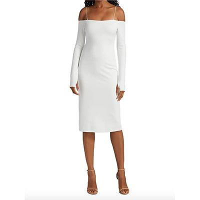 Alice + Olivia Dorinda Off-The-Shoulder Fitted Midi Dress