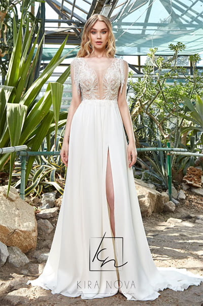 Bridal Gown with Slit ALine