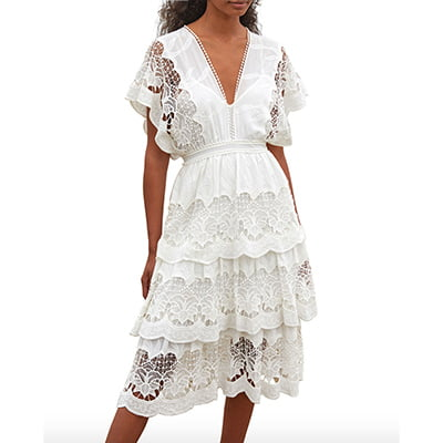 Farm Rio Off-White Richelieu Tiered Lace Midi Dress