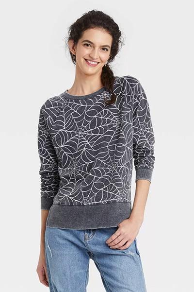 Grayson Threads Spiderweb Graphic Women's Halloween Sweatshirt