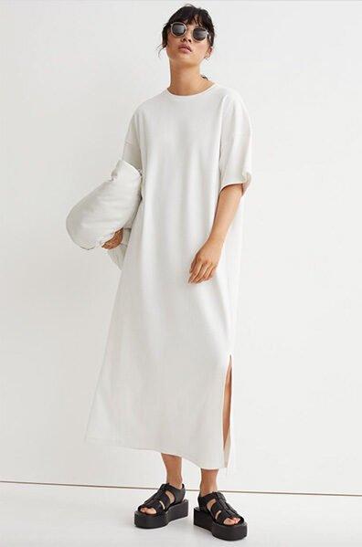 H&M White T-Shirt Dress