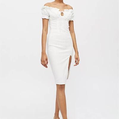 Kiss The Sky Bardot Off-The-Shoulder Midi Dress