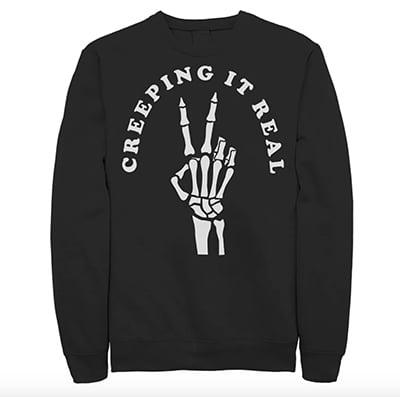 Licensed Character Creeping It Real Peace Sign Skeleton Sweatshirt