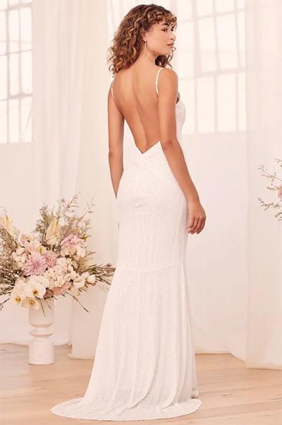 Lulus Forever Radiant White Sequin Backless Mermaid Maxi Dress
