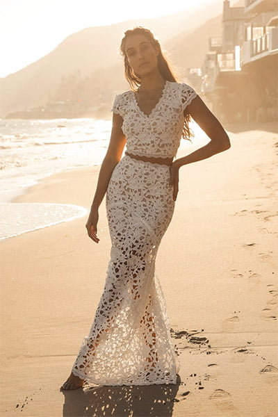 Lulus Special Moments White Crochet Lace Two-Piece Maxi Dress
