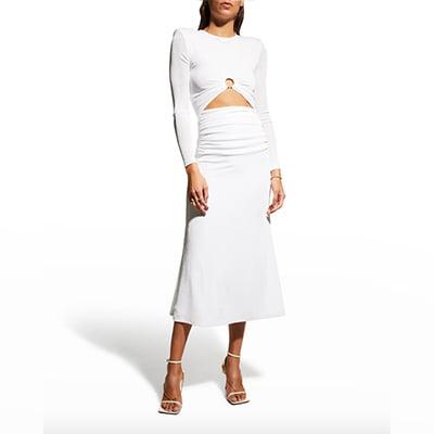 Misha Ambrette Long-Sleeve Midriff Cut-Out Dress