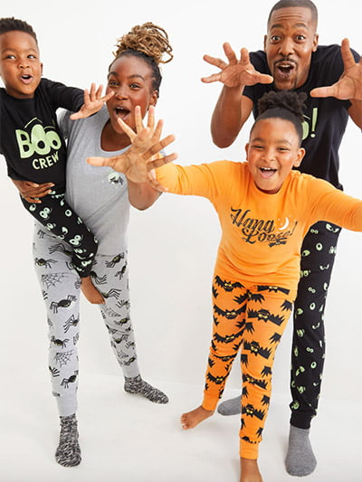 Old Navy Halloween Matching Graphic Pajama Set in Spider Moon Print
