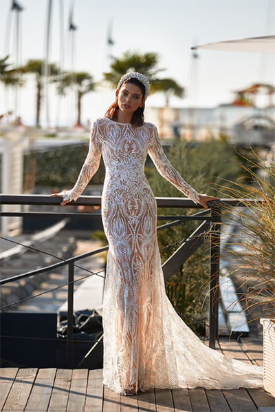 Sexy Fitted Long Sleeve Lace Bridal Gown