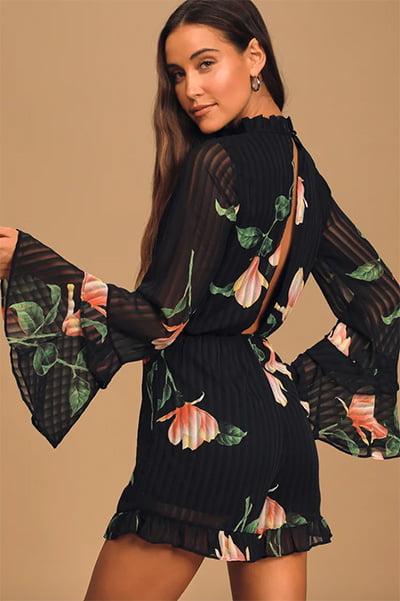 Talking Sweet Black Floral Print Long Sleeve Cutout Romper