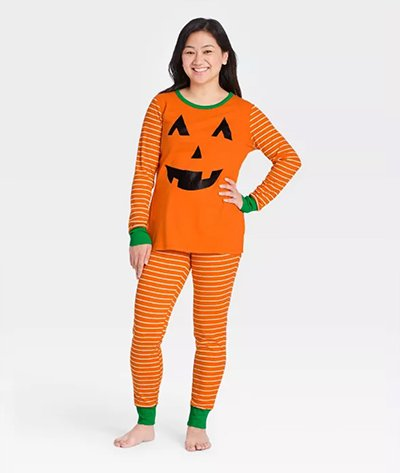 Target Women's Halloween Orange Pumpkin Pajama Set