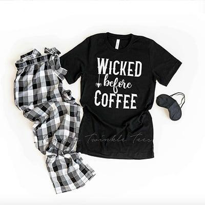 Twinkle Twinkle Tees Wicked Before Coffee Halloween PJs