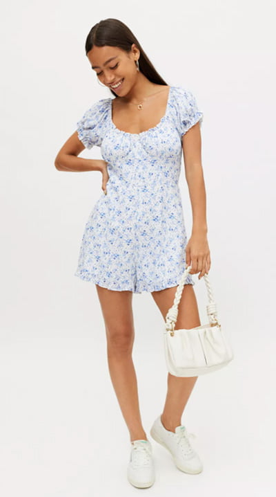 UO Polly Floral Bustier Romper