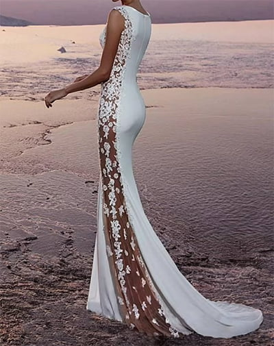 White Sexy Destinations Garden Wedding Dress