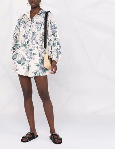 ZIMMERMANN floral-print belted-waist playsuit